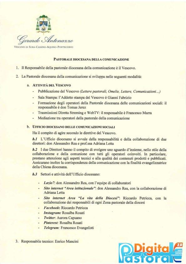 Organigramma della Pastorale della Comunicazione diocesi di Sora Cassino Aquino Pontecorvo